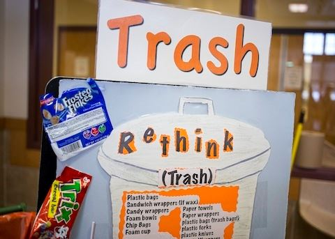 Westbrook Cafeteria Trash sign display