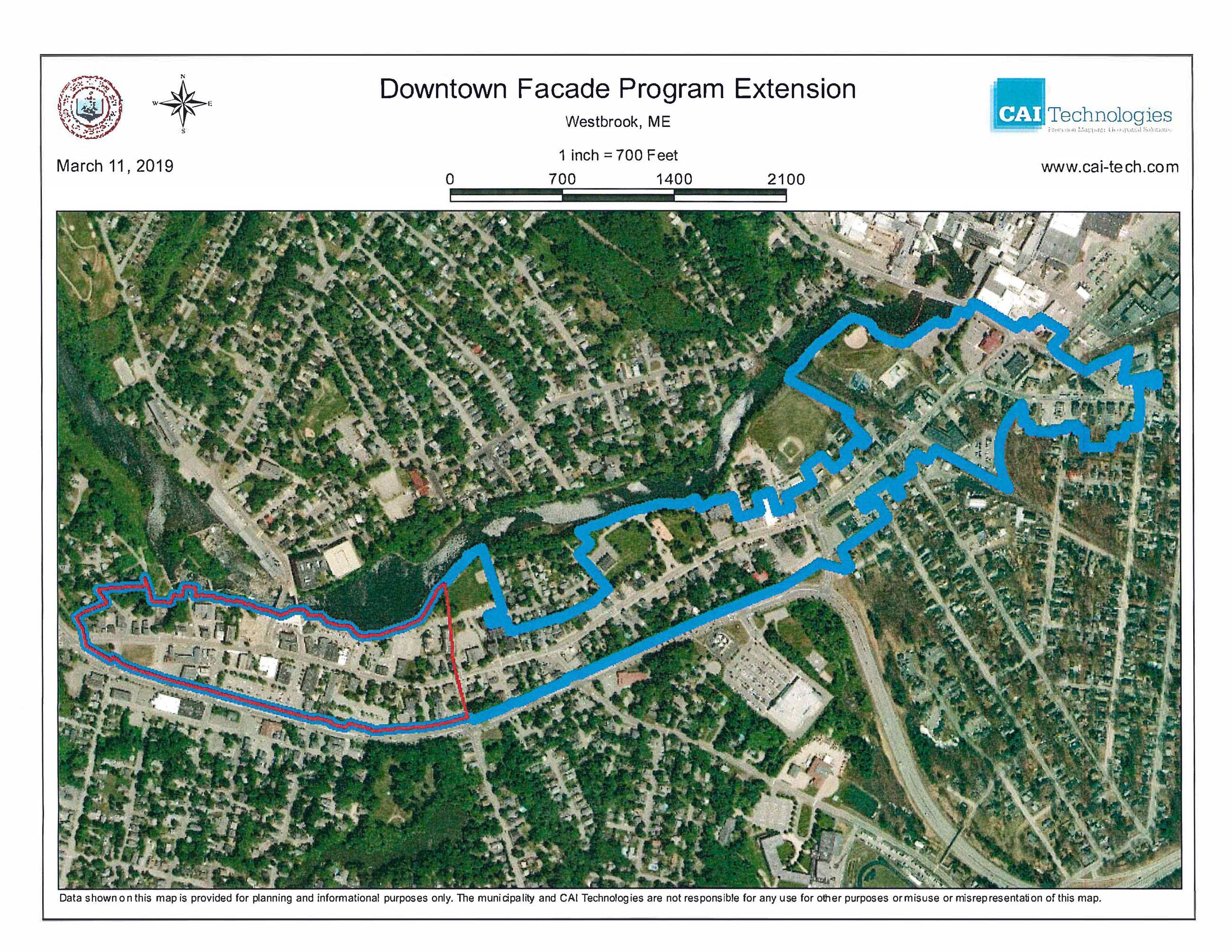 Map of Expanded Downtown Facade Improvement Program