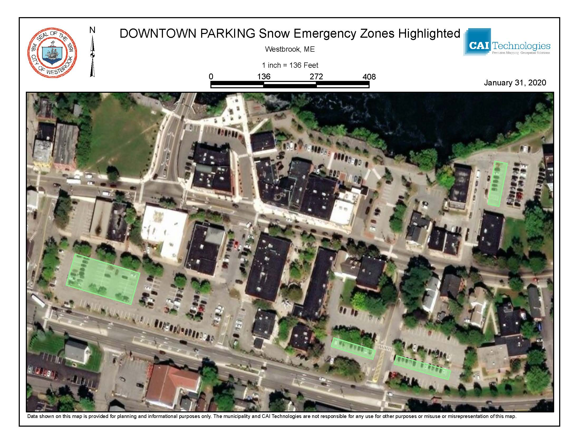 Downtown Parking overview with snow zones highlighted